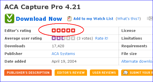 The screenshot of Download.com: ACA Capture Pro 4.21