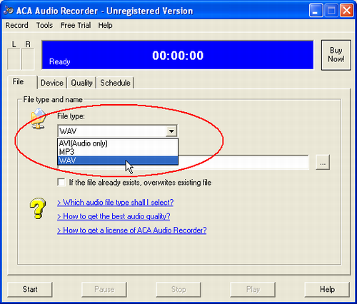 ACA Audio Recorder(Audio Recording Software) FAQ: Get the best audio quality, Click File tab, select WAV on File type combobox