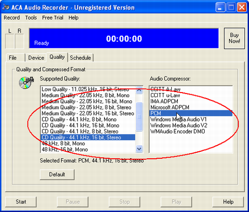 ACA Audio Recorder(Audio Recording Software) FAQ: Get the best audio quality, select CD Quality - 44.1 kHz, 16 bit, Stereo option on Supported Quality list, and select PCM option on Audio compressor list