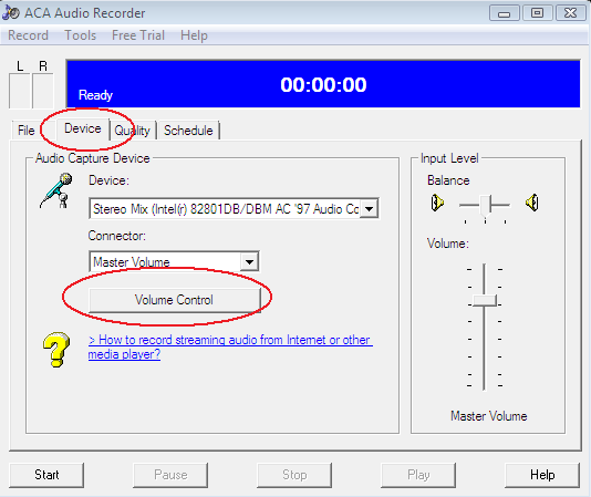 ACA Audio Recorder: Record audio on Widnows Vista