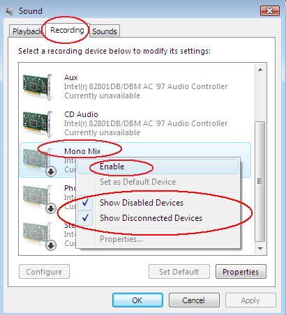ACA Audio Recorder: Record audio on Windows Vista, select other audio source on Windows Vista