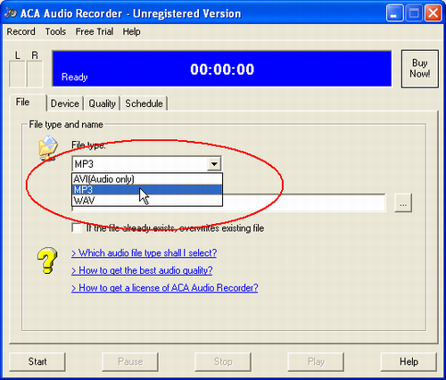 MP3, AVI, WAV,  Which audio file type shall I select? -  ACA  Audio Recorder