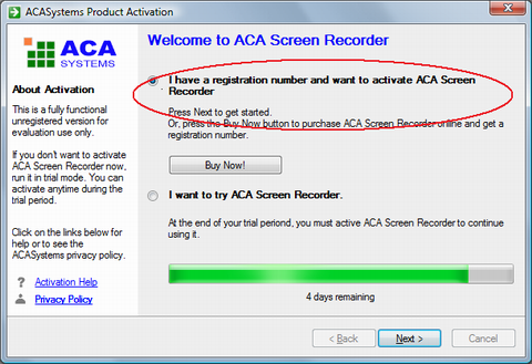 ACA Screen Recorder Activation: choose I have a registration number and want to activate ACA Screen Recorder