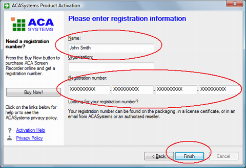 ACA Screen Recorder: Enter the registration information